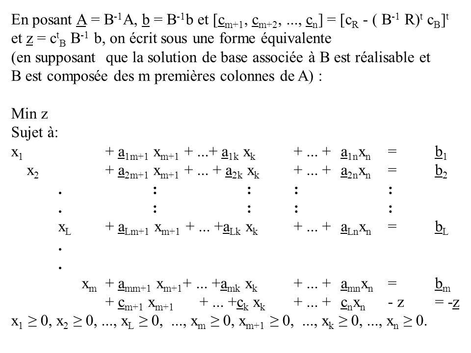 En posant A = B-1A, b = B-1b et [cm+1, cm+2,